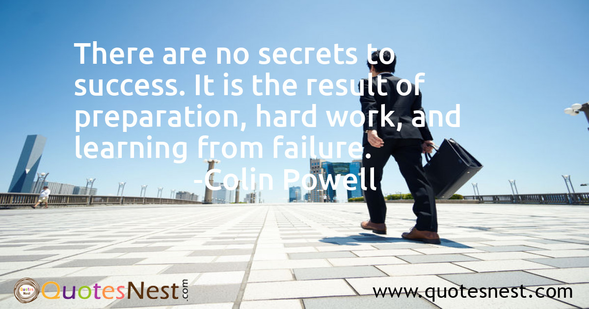 There are no secrets to success. It is the result of preparation, hard work, and learning from failure.