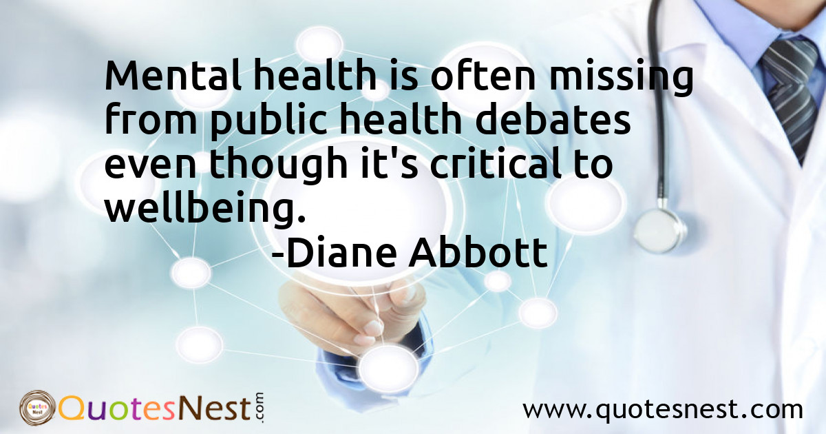 Mental health is often missing from public health debates even though it's critical to wellbeing.