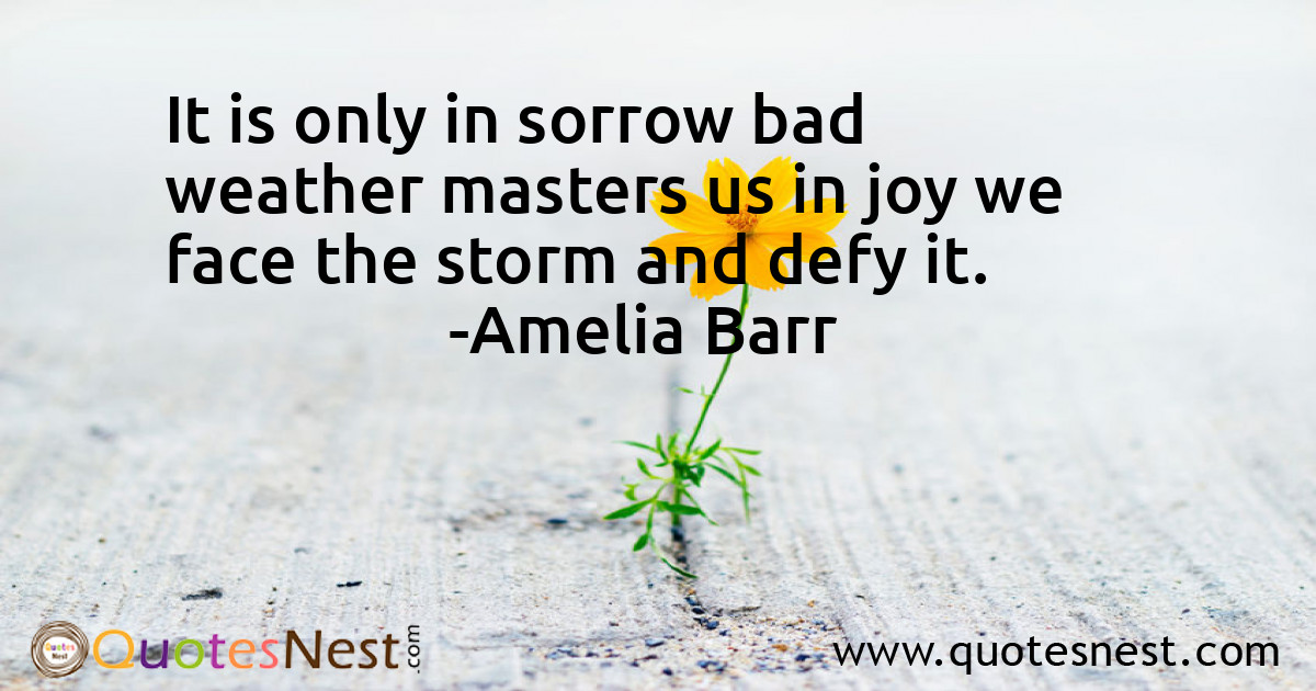 It is only in sorrow bad weather masters us in joy we face the storm and defy it.