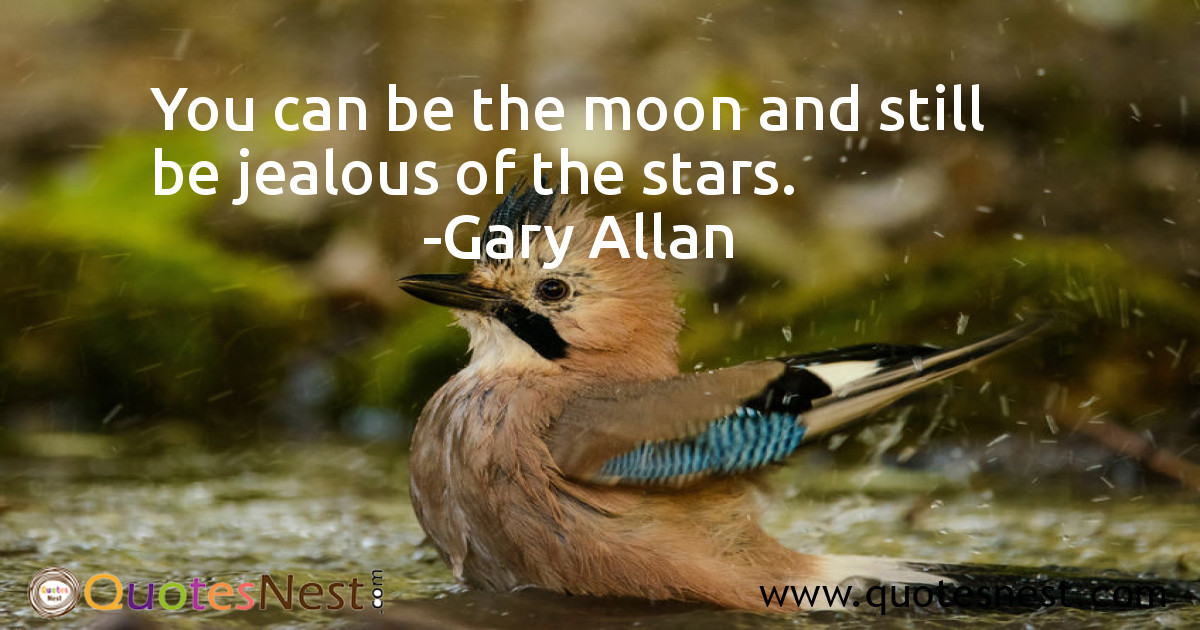 You can be the moon and still be jealous of the stars.