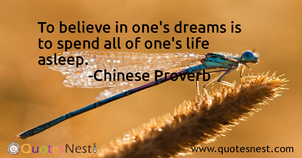 To believe in one's dreams is to spend all of one's life asleep.