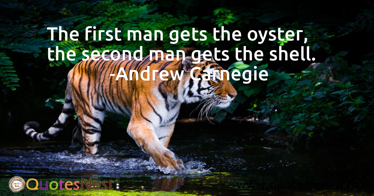 The first man gets the oyster, the second man gets the shell.